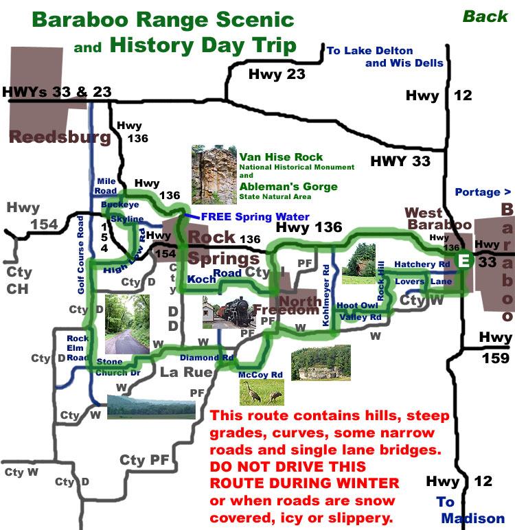 Printable Map For Baraboo Range Scenic Historic Day Trip Sauk